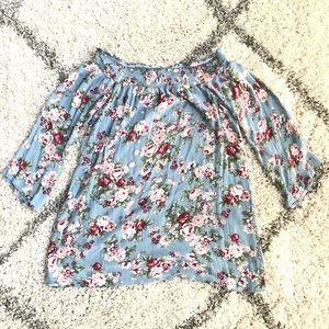 Dresses & Skirts - 🛍3/$20🛍 Off-Shoulder Blue Pastel Floral Dress